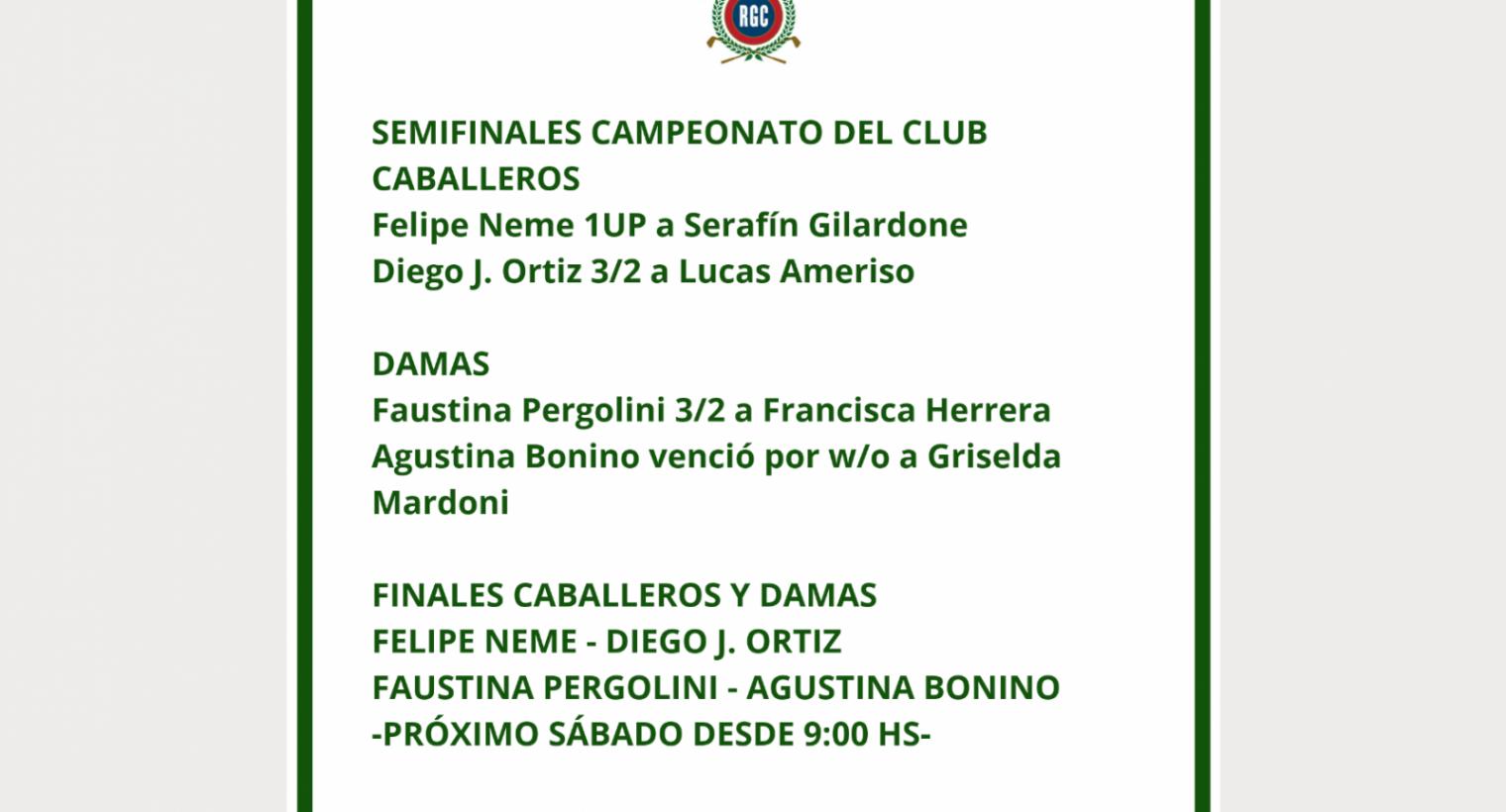 Campeonato del Club -Matchs Semifinales Damas y Caballeros