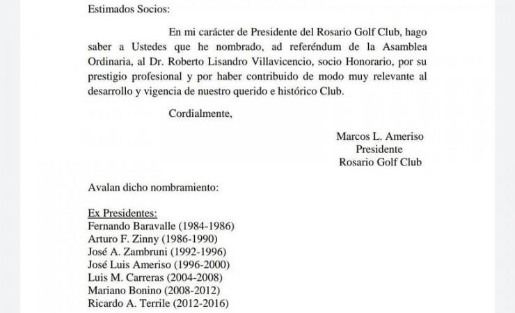 Nombramiento del Dr. Roberto Lisandro Villavicencio como Socio Honorario del Rosario Golf Club.