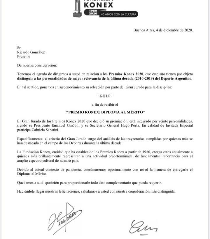 Nueva distinción a nuestro Socio Honorario Ricardo González